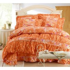 Orange Gilrs Floral Lace Bowtie Bedding Collections