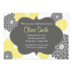 Modern Yellow & Grey Floral Shower Invitation