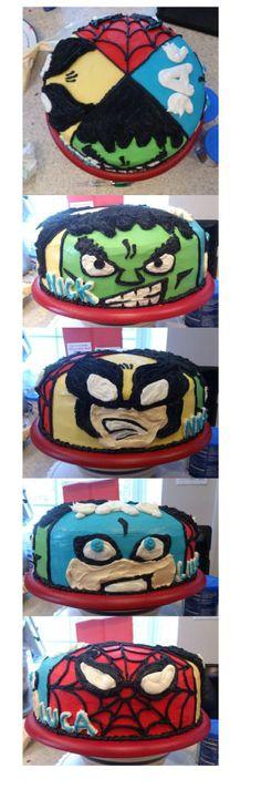 Marvel cake - Hulk , Wolverine, Capt America, Spiderman