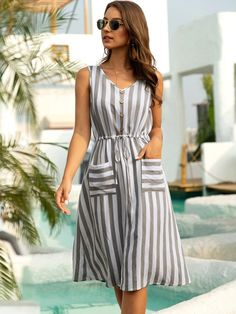 To find out about the Striped Drawstring Waist Sleeveless Dress at SHEIN, part of our latest Dresses ready to shop online today! Simple Dress Casual, Classy Dress, Simple Dresses, Cute Dresses, Short Dresses, Skater Dresses, Sleeveless Dresses, Frock Fashion, Fashion Clothes