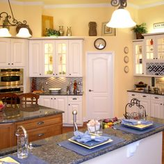 Kitchen is too busy, but I like the cheery yellow & white