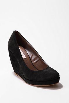 Black or Nude. Suede Platform Wedge. Cute for wearing on dates with straight or skinny jeans.