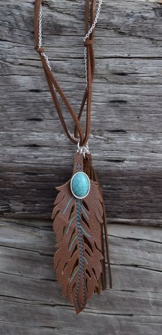 COWGIRL Bling Western FEATHER Faux Leather Fringe Turquoise Boho Gypsy NECKLACE  #Unbranded #necklace