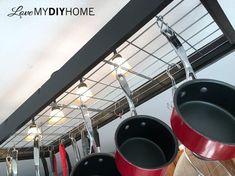 industrial pot rack creative pan handling , diy, home decor, kitchen design, kitchen island, plumbing, wall decor, window treatments