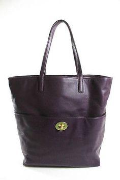 AUTH COACH Purple Leather Gold Tone Hardware Large Tote Shopper Handbag Coach Me, Purple Leather, Large Tote, Wallets, Hardware, Handbags, Tote Bag, Purses, Gold