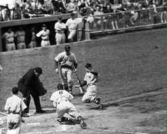 Yankee Stadium 1946: Johnny Pesky of the Boston Red Sox is tagged out at the plate by Yankee Hall of Famer Bill Dickey during his final year as a player.