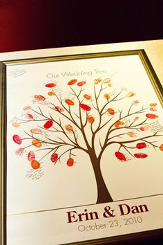 Tree of Life: Leaves made from thumb prints: A gift for a new baby for all those that love him/her will be a momento Tree Wedding, Wedding Guest Book, Our Wedding, Wedding Ideas, Garden Wedding, Wedding Favors, Wedding Stuff, Guest Book Tree, Guest Book Sign