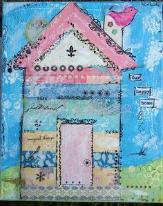 "Mixed Media ""Our Happy Home"" by Ali Coates #mixed media #house art"