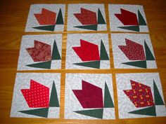 9 Red Rose Buds Quilt Top Blocks   Free by MarsyesQuiltShop, $13.95