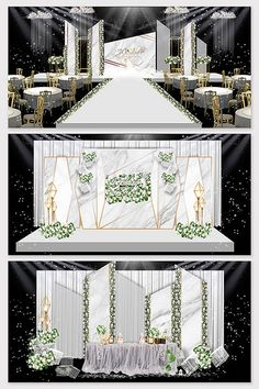 Modern minimalist Sen white green wedding scene renderings#pikbest#decors-models Wedding Backdrop Design, Wedding Stage Design, Wedding Stage Decorations, Engagement Decorations, Wedding Designs, Wedding Ideas, Table Decorations, Indian Wedding Receptions, Wedding Mandap