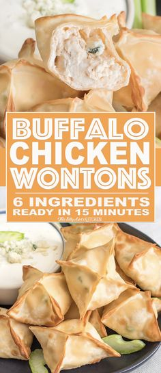Chicken Wontons, only 6 ingredients and ready in 15 minutes, perfect for game day! from Buffalo Chicken Wontons, only 6 ingredients and ready in 15 minutes, perfect for game day! Buffalo Chicken Wraps, Buffalo Chicken Wontons, Buffalo Chicken Recipes, Wonton Recipes, Gourmet Recipes, Appetizer Recipes, Cooking Recipes, Chicken Appetizers, Game Day Appetizers