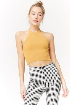 Cropped Ribbed Knit Halter Top F21 6b382c954