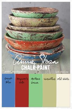 COLORWAYS originally pinned from batixa.tumblr.com, this stack of primitive pine bowls has a palette of colors similar to those of Annie Sloan Chalk Paint®.