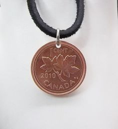 Canadian Coin Necklace 1 Cent Coin Maple by AutumnWindsJewelry
