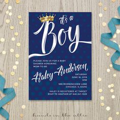 Navy baby shower invitation boy gold crown baby shower invite card prince baby shower invitation card customized white text DIGITAL by HandsInTheAttic
