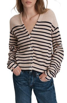 rag & bone Ann Stripe Cardigan   Nordstrom Striped Cardigan, Cashmere Cardigan, Cardigans For Women, Fashion Sewing, Blue Sweaters, Clothes For Women, Ann, Front Button, Jackets