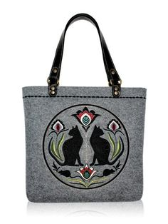 Filcowa torebka z haftem na ramię FOLK KOTY (proj. Goshico)