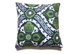Two Navy Blue Chartreuse Gray White Olive Green Pillow Covers Decorative Toss Throw Accent Covers 16 inch pair. $35.00, via Etsy.