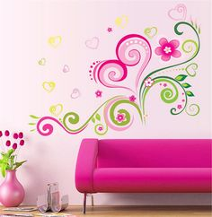 Adesivo de parede infantil decoracao Flower heart children room Vinyl wall stickers for Kids rooms home decorative mural paper