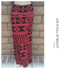 "Aztec printed skirt Beautiful for all the season with go lover waist . 🔹Medium - waist 24"" Length : 42"" . 🔹Large - waist :26 length :42. Material is 96% polyester 4% spandex . New in packaging . Skirts Maxi"