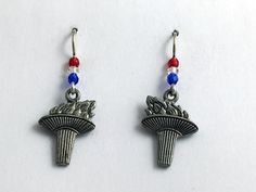 Pewter & Sterling silver Torch dangle earrings-Athlete. games, torches