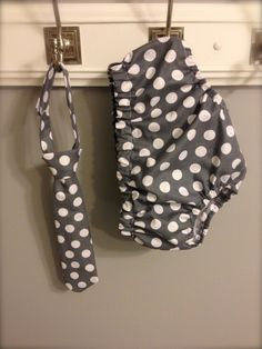 Baby Boy Tie and Diaper cover SET - Grey Polka Dot