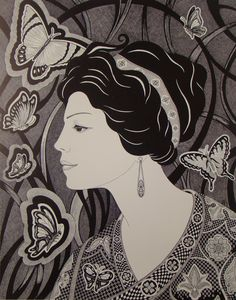 Butterfly Lady, Medieval Art, Fantasy Art, Medieval Print, Butterfly Drawing, Pen and Ink, Portrait, Butterfly Art, Butterfly, Art Print - pinned by pin4etsy.com