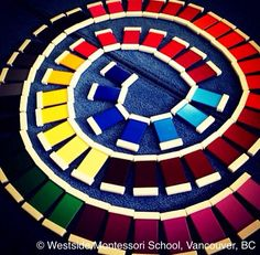 Montessori Sensorial - exploration and creativity with Color Box 3, gradation of color tiles. From: /wmswms/