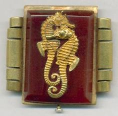 Bakelite and Plastic Jewelry  french bakelite and brass seahorse pin