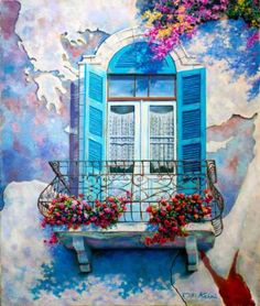 "Saatchi Art Artist Miki Karni; Painting, ""Window to the Mediterranean/ Original oil painting on canvas"" #art"