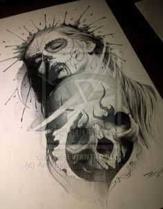 Sugar Skull . Day of the dead tattoo sketch