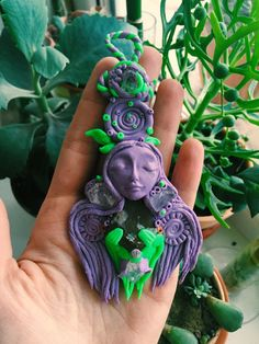 Psychedelic Nature Spirit Polymer Clay Opal Topaz Pendant by PIMN on Etsy