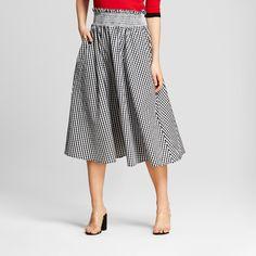 0d5899a219ad Women s Gingham Smocked Waist Midi Skirt - Who What Wear Black Xxl Wearing  Black