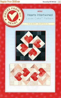 SALE Hearts Intertwined Quilt Pattern Quilted Table Runner