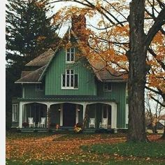 What a Fall beauty! Wish I could give credit but came across it on Pinterest, such an interesting house. #fallleaves #architecture #vintagehome.