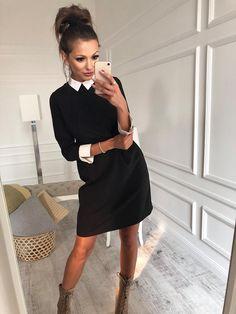 Elegantní, společenské šaty s bílým límečkem a dlouhým rukávem vyrobené z vysoce kvalitního a příjemného v dotyku materiálu. Šaty jsou velmi pohodlné a příjemné na nošení. Ideální na společenské, formální akce, nebo i do práce. Složení: 95% polyester, 5% elastan.