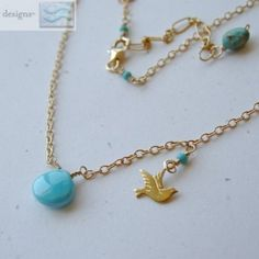 TURQUOISE Dove charm briolette Gold filled Camp Sundance necklace| gembliss - Jewelry on ArtFire