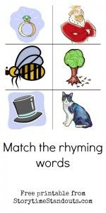 Match the Rhyming Words and other phonemic awareness learning activities, games, printables and picture book suggestions from Storytime Standouts #phonemicawareness #prereading