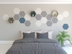 Wall feature painted hexagons on a wall how to paint a hexagon feature wall hexagon shelf You can create a striking hexagon wall feature using just our Hexagon Painting Tool. Get creative with paints that you might have left over. Painted Feature Wall, Feature Wall Design, Feature Wall Bedroom, Accent Wall Bedroom, Bedroom Wall Paints, Paint Accent Walls, Diy Feature Wall Ideas, Paint Bathroom, Feature Walls