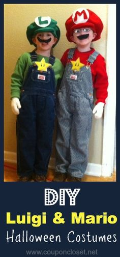 DIY Luigi and Mario Costumes- I know what bryce n tyler are going to be for halloween :3