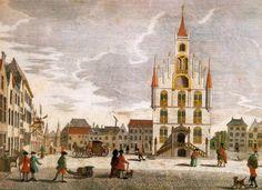 Gesigt van het Stadhuys tot Gouda. Het stadhuis en de Markt door Georg Balthasar Probst, circa 1750. Collectie museumgoudA, foto Tom Haartsen