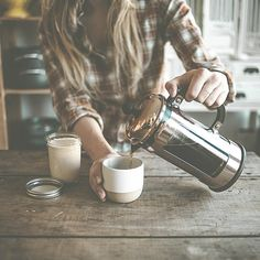 Pouring French Press Coffee // via tifforelie