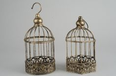 thetravellingsouk.com - Antique gold metal birdcage with tea light holder and hook or loop for hanging. Sold Seperately. Item will be selected at random unless stated otherwise. 11cm x 17.5cm.