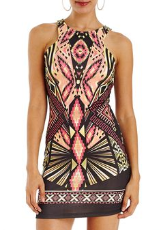 Cut-out Back Tribal Dress