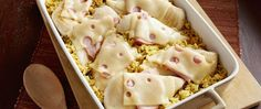 Chicken Cordon Blue and Rice Casserole   Dinner for eight using chicken breasts? Go Cordon Bleu with ham and Swiss cheese.