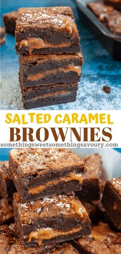 These Salted Caramel Brownies are the ultimate indulgent treat - dark, fudgy chocolate brownies with a salted caramel middle. Salted Caramel Desserts, Chocolate Caramel Brownies, Caramel Treats, Caramel Recipes, Brownie Recipes, Chocolate Desserts, Easy Salted Caramel Cake Recipe, Chocolate Carmel Bars, Salted Caramels