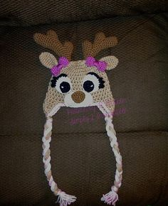 Ravelry: Girly Deer Hat (US and UK Terms) pattern by Ruth McColm--SUPER cuteness!