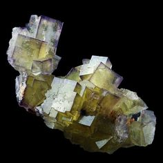 Yellow Fluorite with Purple zones - Fontsante, France Minerals And Gemstones, Crystals Minerals, Rocks And Minerals, Stones And Crystals, Minions, Rock Of Ages, Rare Gems, Mineral Stone, Rocks And Gems