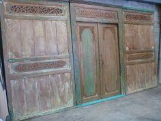 Balinese Antique Original Hand Carved Door 2 Panels Rustic Aqua 3 piece set