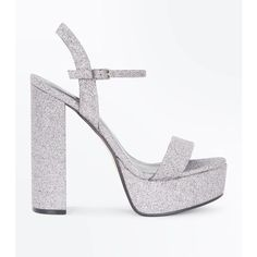 a9aea0fb8280 Silver Glitter Platform Block Heel Sandals ( 24) ❤ liked on Polyvore  featuring shoes